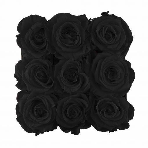 Eckige Rosenbox mit schwarzen Infinityrosen von oben