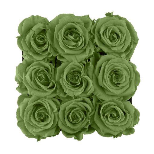 Eckige Rosenbox mit grünen Infinityrosen von oben