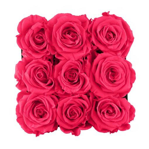 Eckige Rosenbox mit peach pinken Infinityrosen von oben