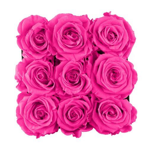 Eckige Rosenbox mit purple pinken Infinityrosen von oben