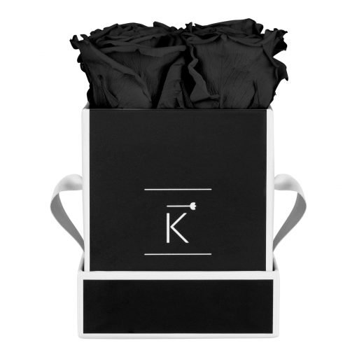 Eckige Rosenbox in schwarz weiß mit schwarzen Infinityrosen
