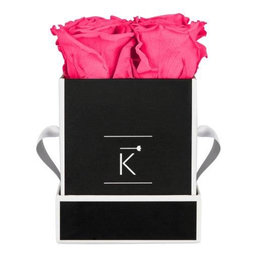 Eckige Rosenbox in schwarz weiß mit purple pinken Infinityrosen