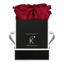 Eckige Rosenbox in schwarz weiß mit roten Infinityrosen