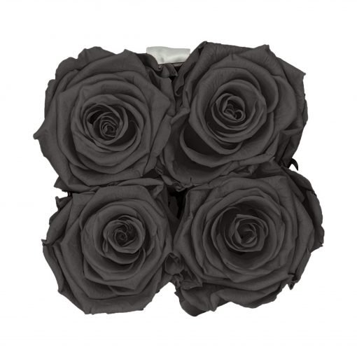 Eckige Rosenbox in schwarz weiß mit schwarzen Rosen von oben