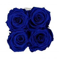 Eckige Rosenbox in schwarz weiß mit blauen Rosen von oben