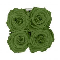 Eckige Rosenbox in schwarz weiß mit grünen Rosen von oben