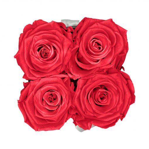 Eckige Rosenbox in schwarz weiß mit peach pinken Rosen von oben