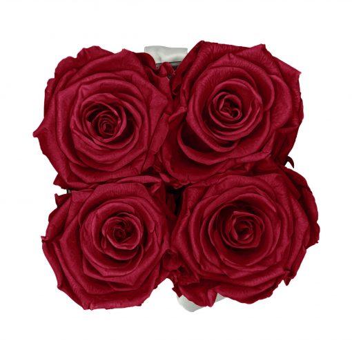 Eckige Rosenbox in schwarz weiß mit roten Rosen von oben