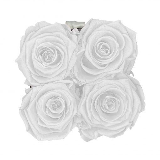 Eckige Rosenbox in schwarz weiß mit weißen Rosen von oben