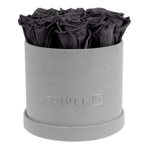 Runde Rosenbox aus hellgrauem Samt mit schwarzen Infinityrosen