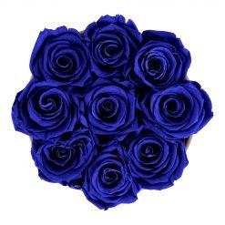 Runde Rosenbox mit blauen Infinityrosen von oben