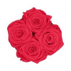 Kleine Rosenbox mit vier Infinityrosen in peach pink von oben