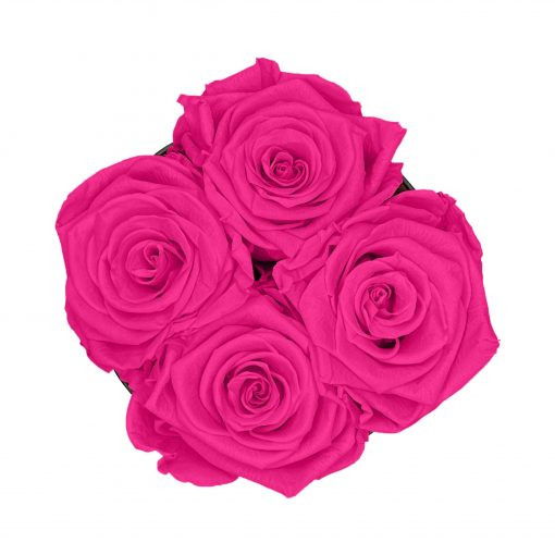 Kleine Rosenbox mit vier Infinityrosen in purple pink von oben