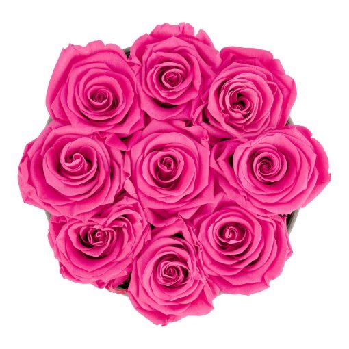 Rosenbox rund und schwarz mit neun purple pinken Infinityrosen, Anischt von oben