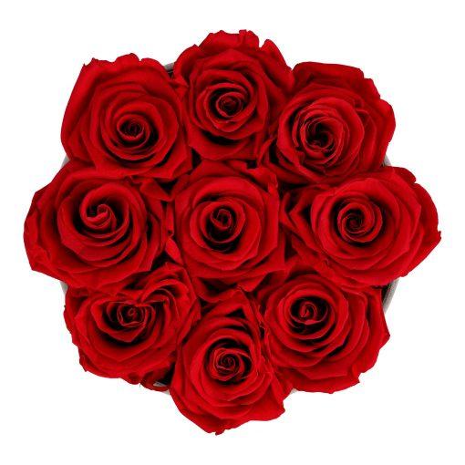 Rosenbox rund und schwarz mit neun roten Infinityrosen, Anischt von oben