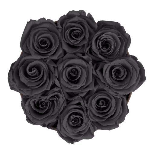 Rosenbox rund und schwarz mit neun schwarzen Infinityrosen, Anischt von oben