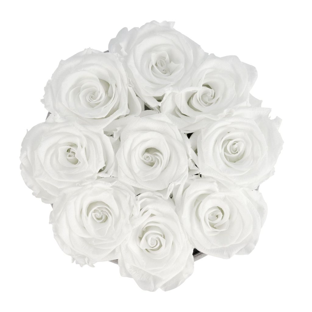Rosenbox rund und schwarz mit neun weißen Infinityrosen, Anischt von oben
