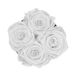 Kleine Rosenbox mit vier Infinityrosen in weiß von oben