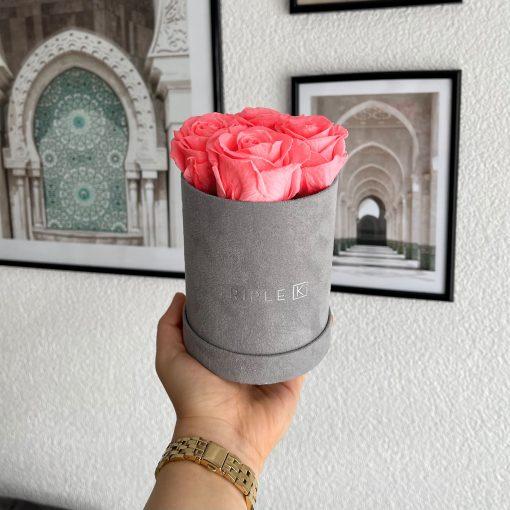 Kleine Rosenbox Samtfinish mit 4 pinken Infinityrosen wird von einer Frau in der Hand gehalten