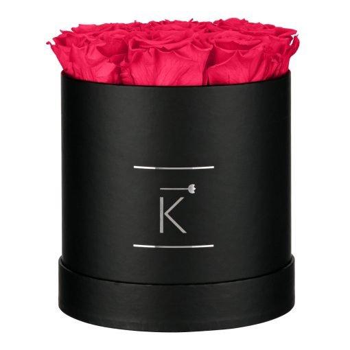 Runde schwarze Rosenbox mit peach pinken Infinityrosen