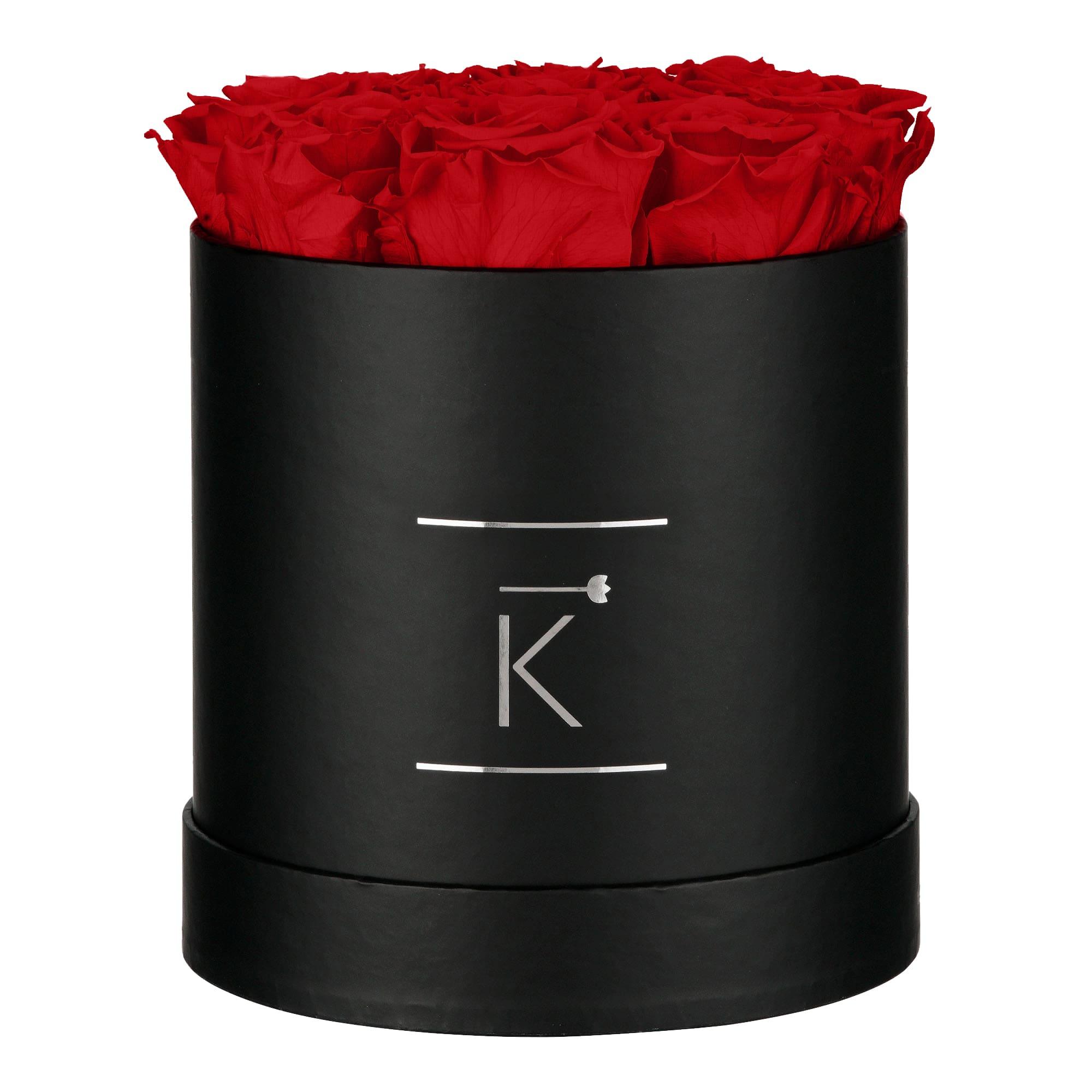 Runde schwarze Rosenbox mit roten Infinityrosen