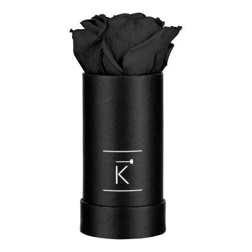 Kleine schwarze Rosenbox mit schwarzer Infinityrose