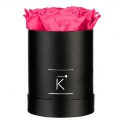 Runde schwarze Rosenbox mit purple pinken Infinityrosen
