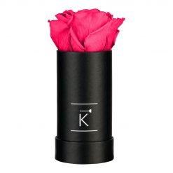 Kleine schwarze Rosenbox mit purple pinker Infinityrose