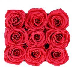 Eckige Rosenbox aus hellgrauem Samt mit peach pinken Infinityrosen von oben
