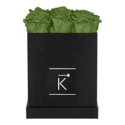 Eckige Rosenbox in schwarz mit grünen Infinityrosen