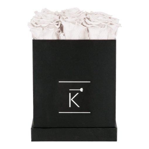 Eckige Rosenbox in schwarz mit weißen Infinityrosen