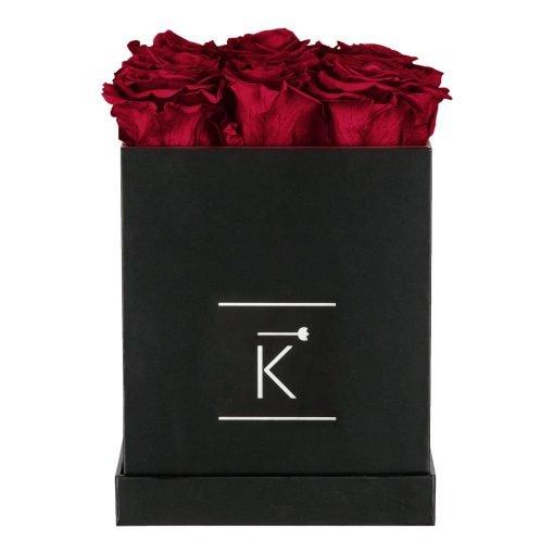 Eckige Rosenbox in schwarz mit dunkelroten Infinityrosen