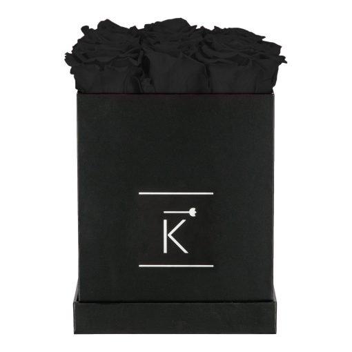 Eckige Rosenbox in schwarz mit schwarzen Infinityrosen