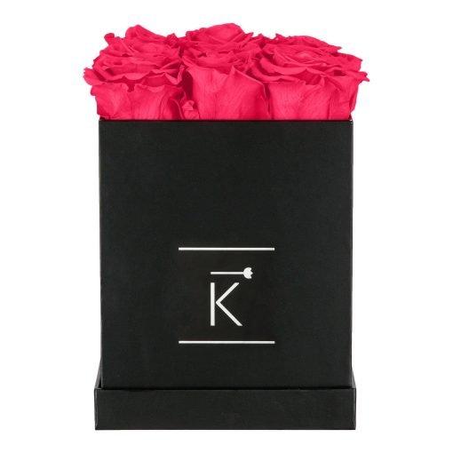 Eckige Rosenbox in schwarz mit peach pinken Infinityrosen