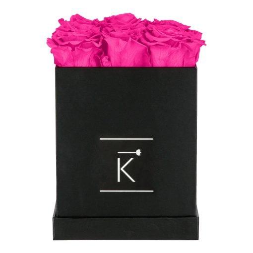Eckige Rosenbox in schwarz mit purple pinken Infinityrosen