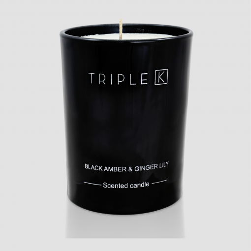 Duftkerze black amber und ginger lily in schwarzem Glas