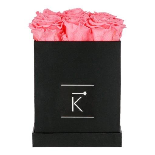 Eckige schwarze Rosenbox mit pinken Infinityrosen