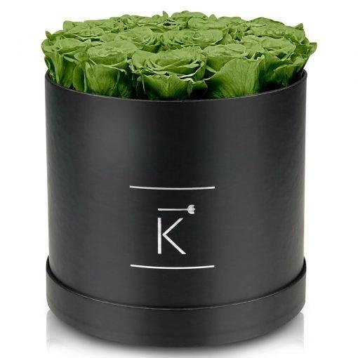 Große runde Rosenbox schwarz mit grünen Infinityrosen