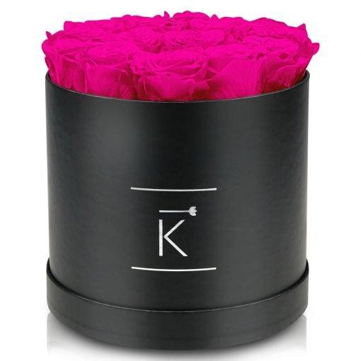 Große runde Rosenbox schwarz mit lila pinken Infinityrosen