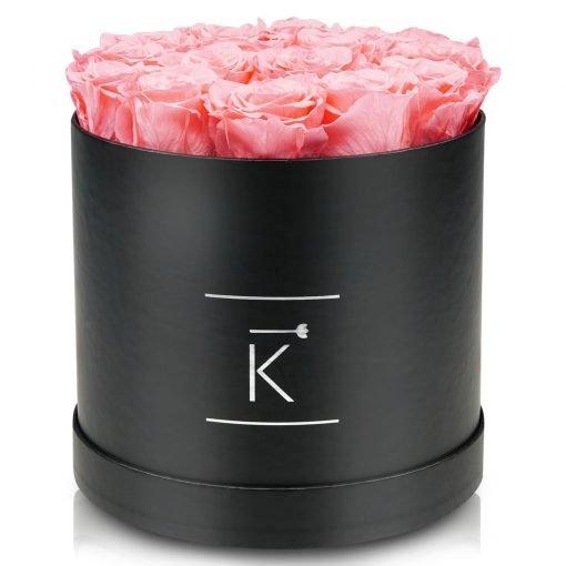 Große runde Rosenbox schwarz mit rosanen Infinityrosen