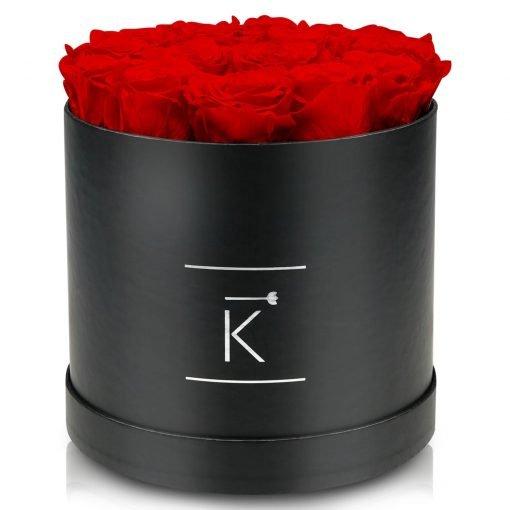 Große runde Rosenbox schwarz mit roten Infinityrosen