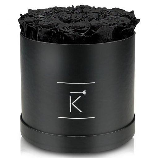 Große runde Rosenbox schwarz mit schwarzen Infinityrosen