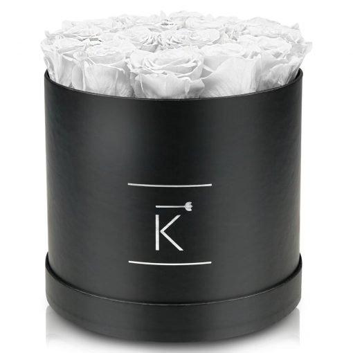 Große runde Rosenbox schwarz mit weißen Infinityrosen