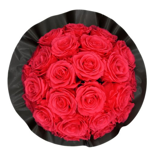 Gorgeous Rosenbox schwarz, peach pinke Rosen, Ansicht von oben