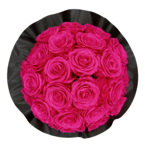 Gorgeous Rosenbox schwarz, purple pinke Rosen, Ansicht von oben