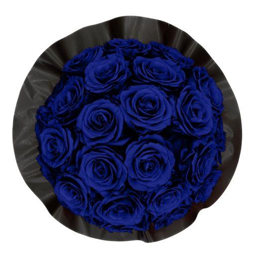 Gorgeous Rosenbox schwarz, blaue Rosen, Ansicht von oben