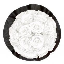 Gorgeous Rosenbox schwarz, weiße Rosen, Ansicht von oben