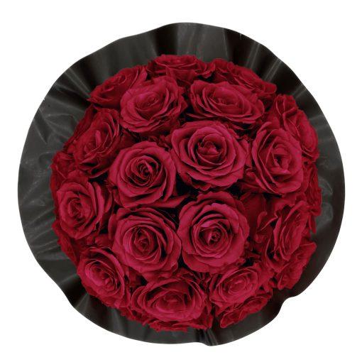 Gorgeous Rosenbox schwarz, dunkelrote Rosen, Ansicht von oben