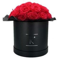 Gorgeous Rosenbox schwarz, peach pinke Rosen, Ansicht von vorne