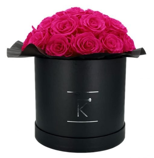 Gorgeous Rosenbox schwarz, purple pinke Rosen, Ansicht von vorne
